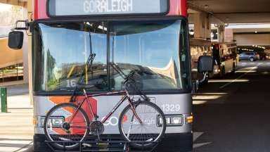 Front of GoRaleigh Bus with Bike on Rack