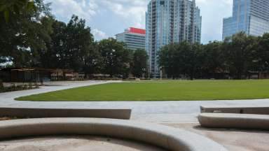 View of Moore Square lawn and sidewalks