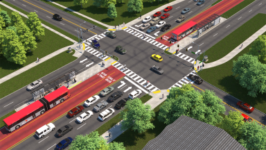Artwork showing a dedicated bus lane in the median