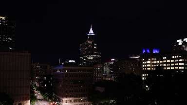 Night time photo of downtown Raleigh North Carolina