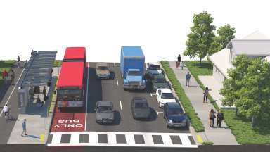 Artistic Render of red bus in a bus only lane with people walking and cars on the road