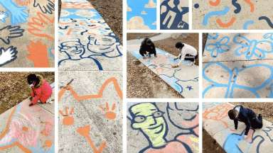 A collage of images of people interacting with the Make Your Mark interactive chalk murals