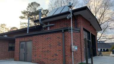A view of the USGS rain gauge installed at Fire Station 15 in Raleigh.