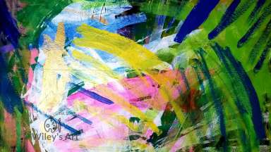 Brush strokes in green, blue, yellow, and pink criss-cross each other.