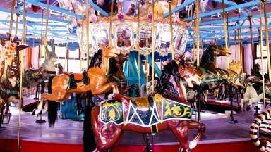 Colorful interior of a carousel with animals