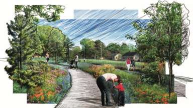 A rendering of Dix Park Plaza & Play by MVVA featuring a curved pathway through gardens and trees. People are walking on the path and throughout the park.