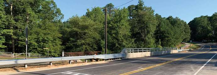 The new bridge on Lake Dam Road that crosses over Walnut Creek