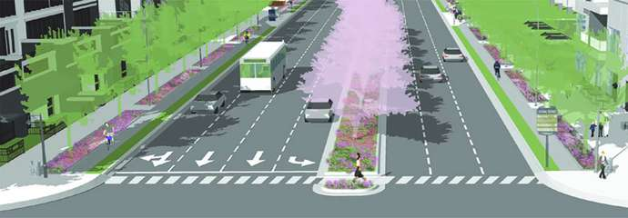 A concept drawing of what a section of Six Forks Rd will look like when the project is complete