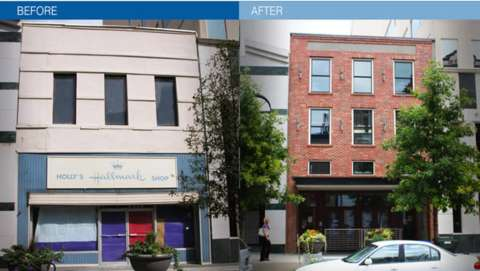 before and after of a facade on fayetteville street
