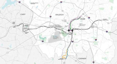 Map of Raleigh indicating corridor suggestions for Northern and Southern and locations along New Bern Avenue and Western Boulevard