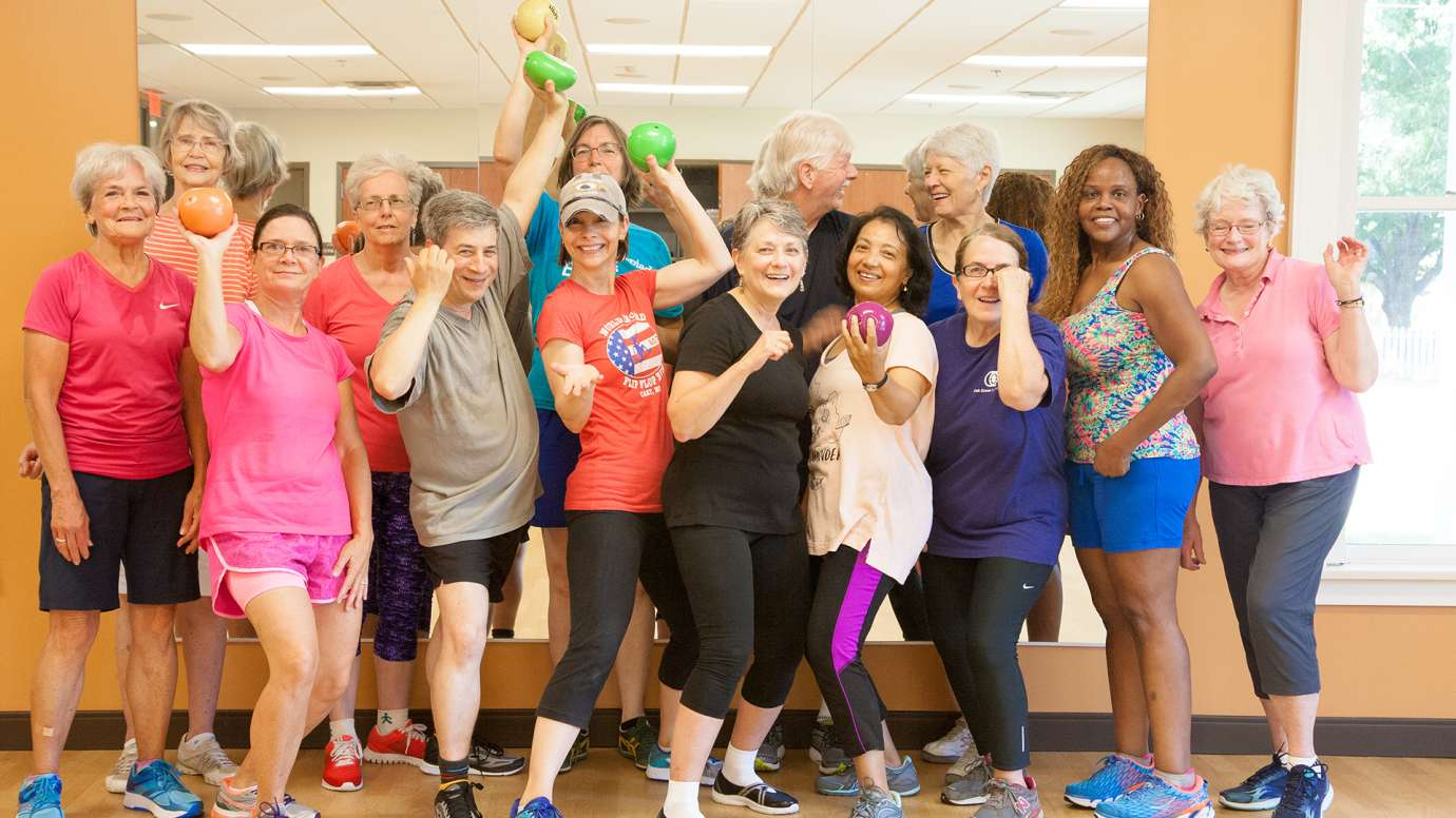 Group of participants from Cardio class at Five Points Center for Active Adults posing.