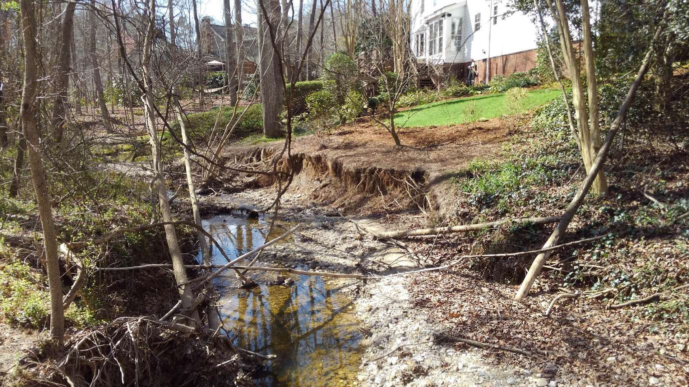 An eroded stream on Petworth Court