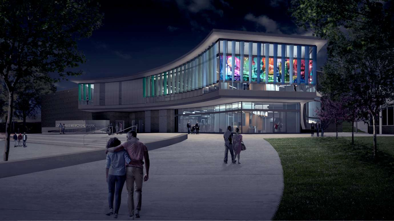Design rendering of the future John Chavis Memorial Park community center at night
