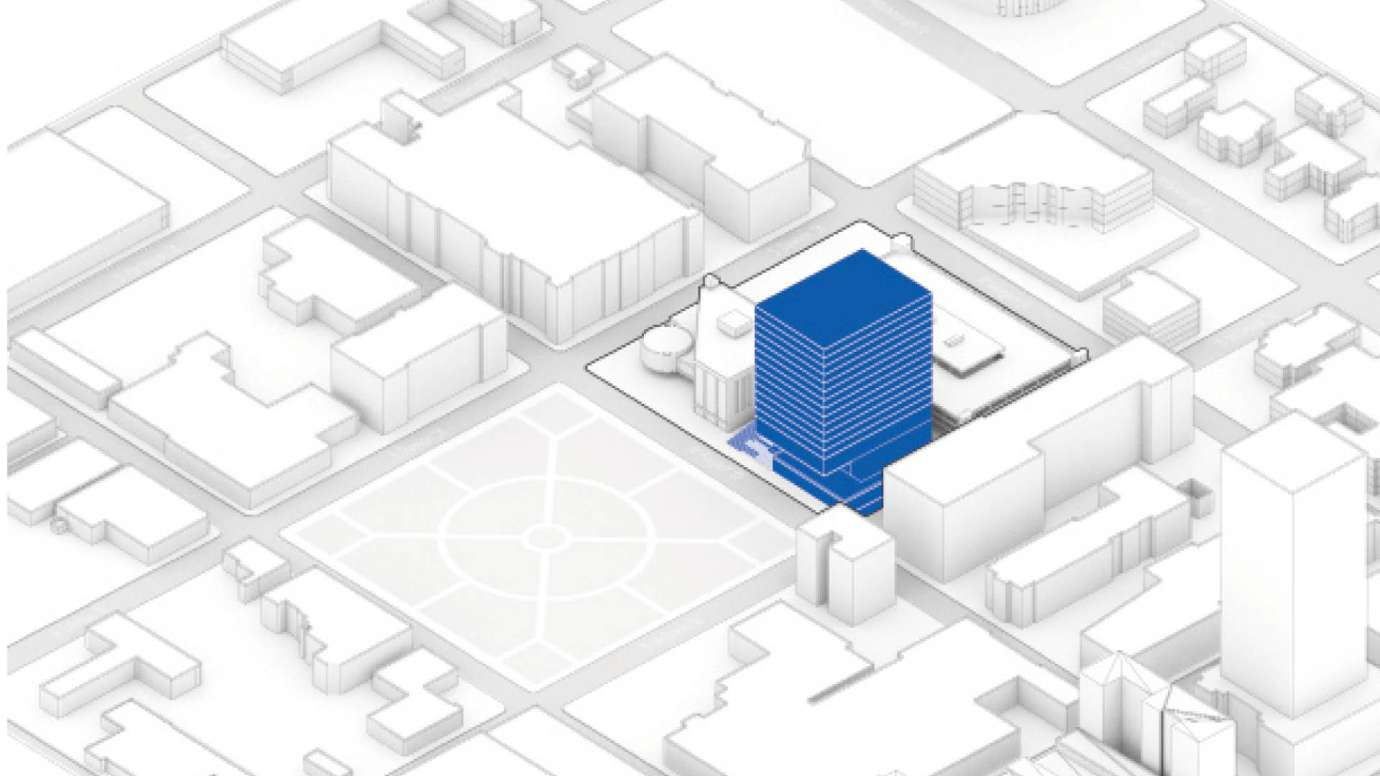 A gray and white drawing that highlights the east civic tower in blue that's planned for Hargett St.