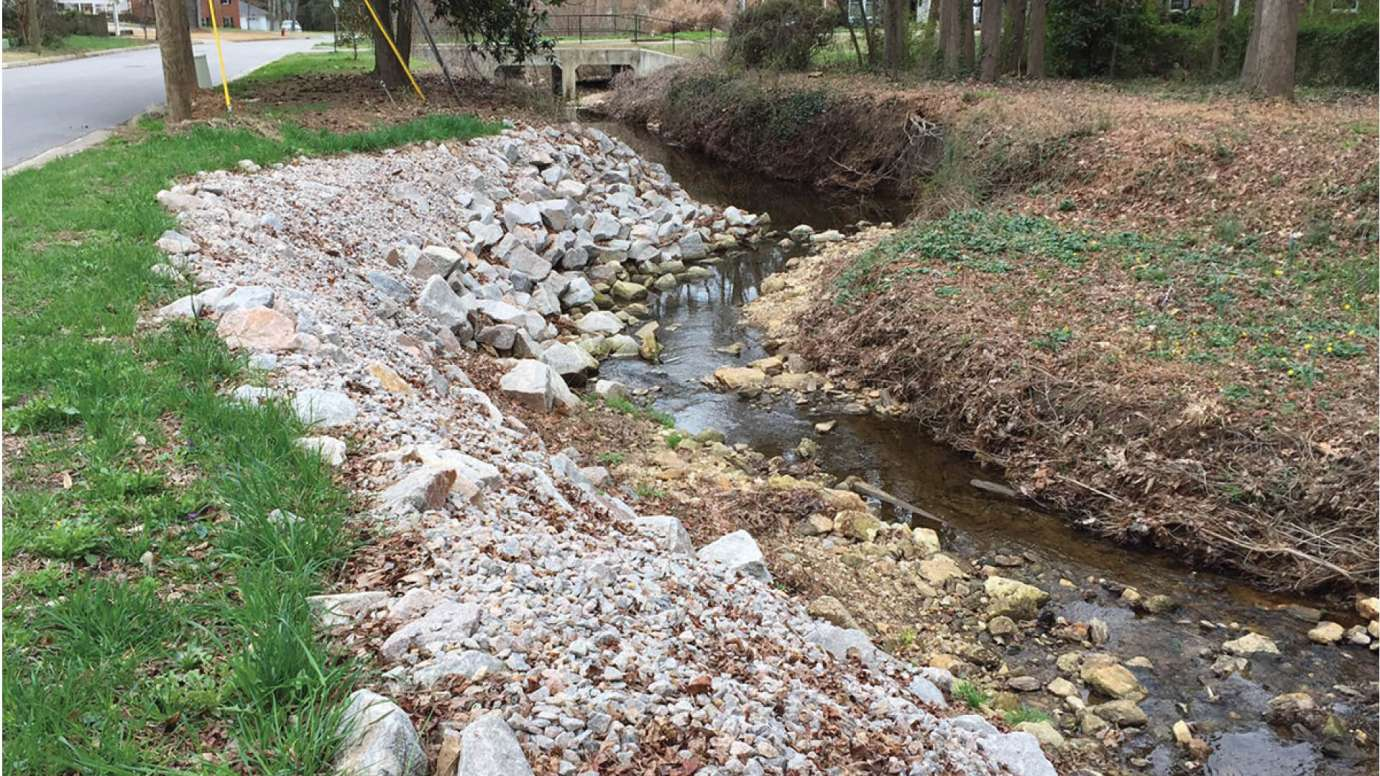 A stormwater channel along Swift Drive