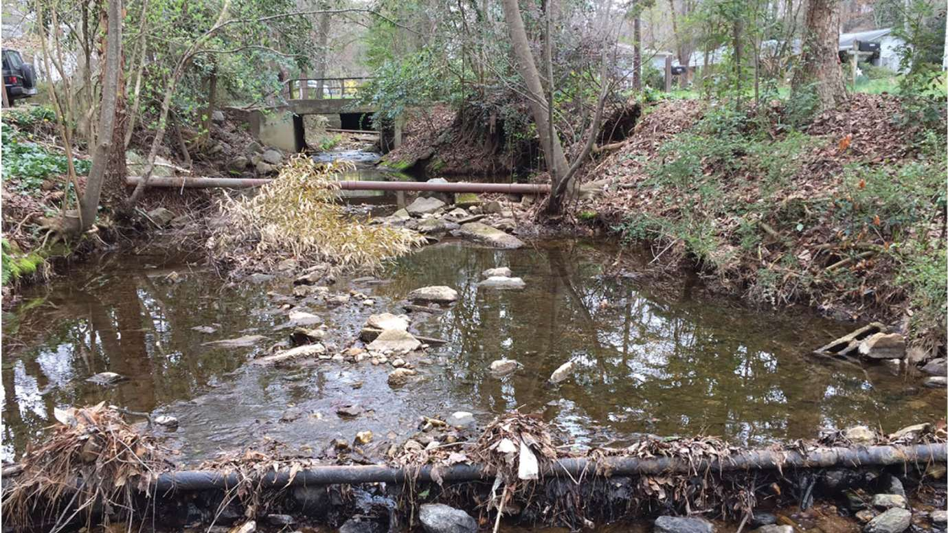 The stream along Swift Drive with old stormwater pipes and culverts
