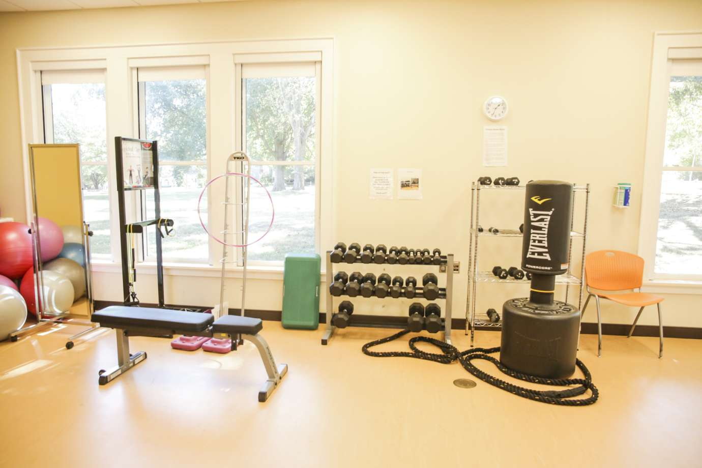 A fitness room with a punching bag, weights and cardio equipment
