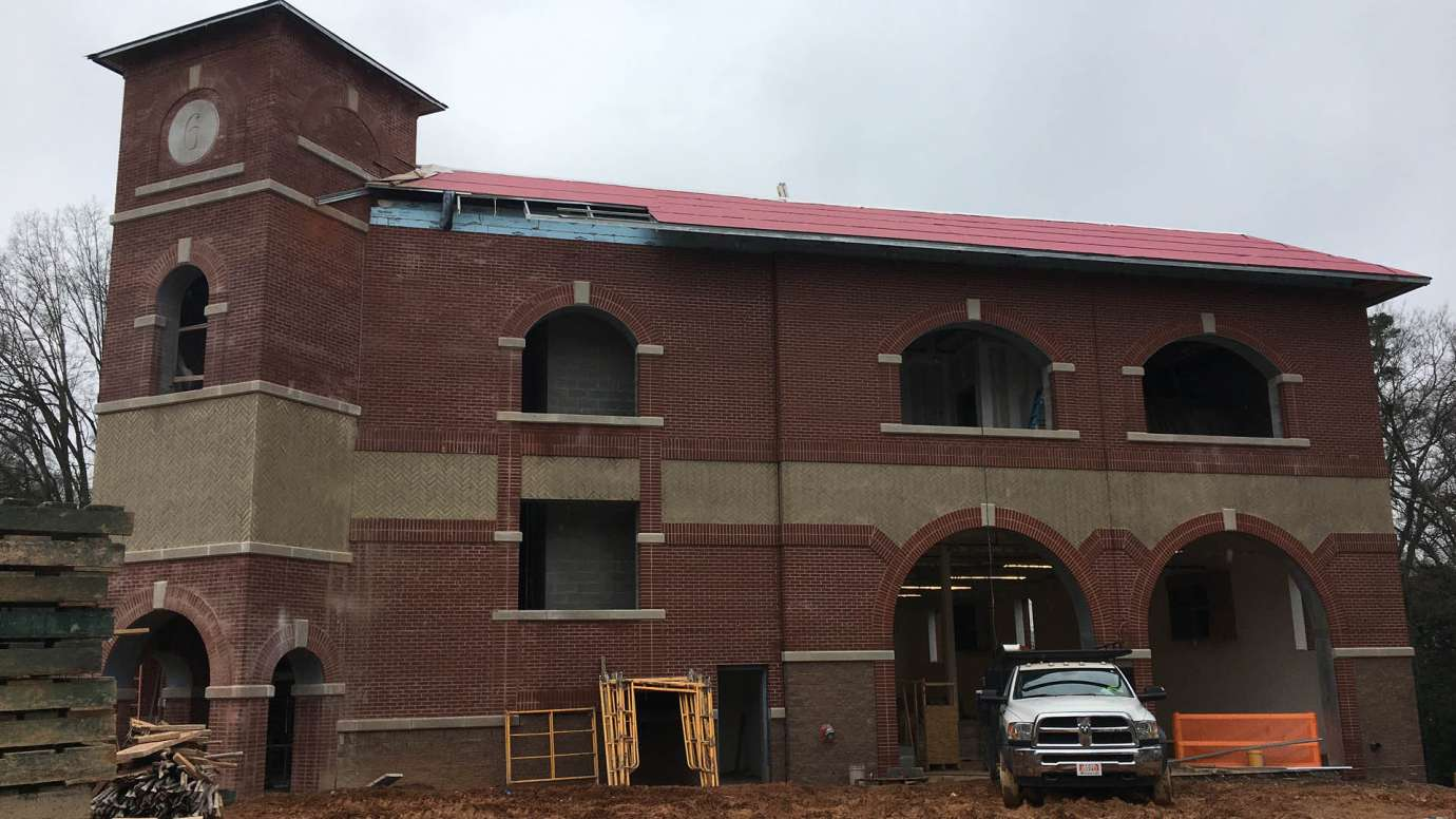 The new brick exterior of Fire Station Six in Raleigh
