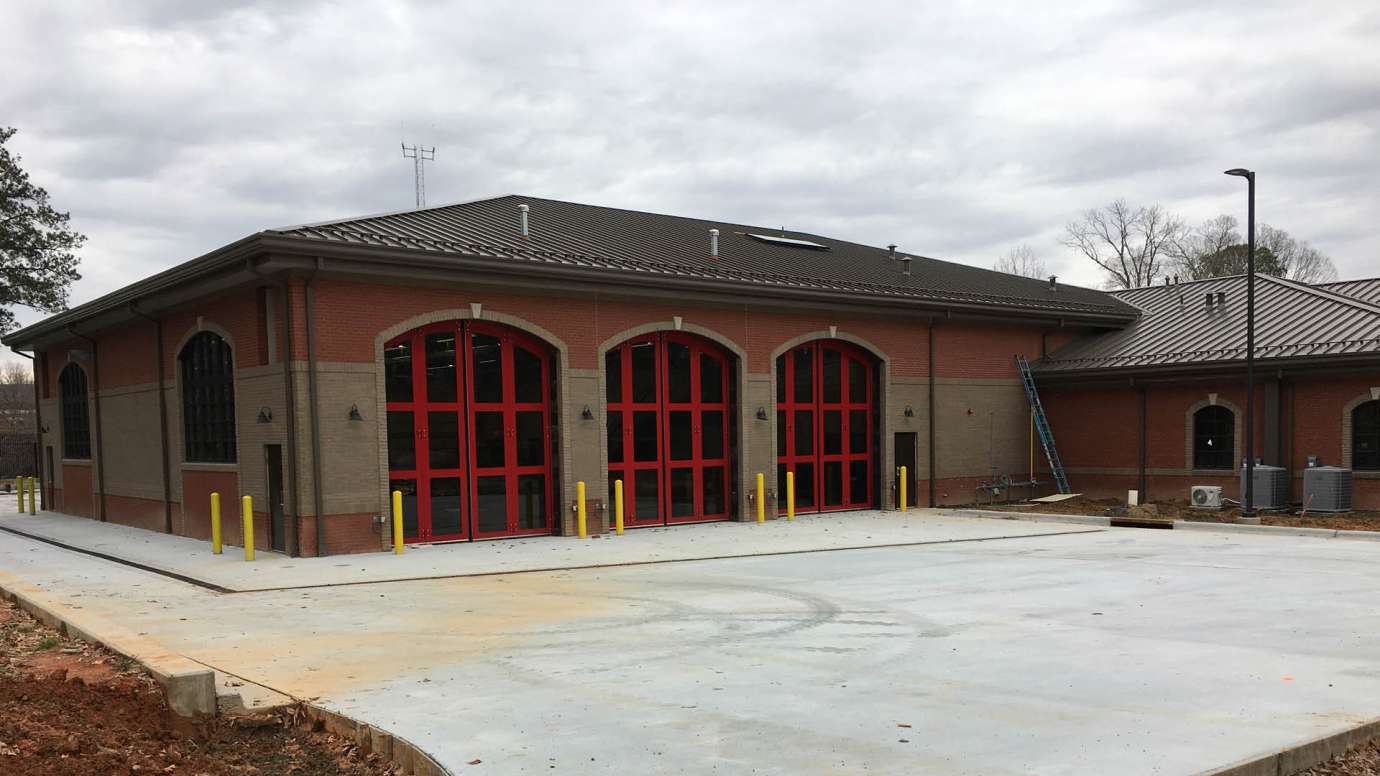 New bay doors at Fire Station 14 in Raleigh.